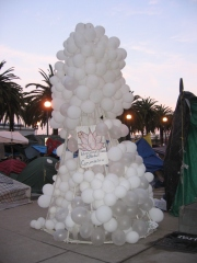 10 foot white balloon art installation