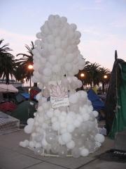 10 foot white balloon art installation