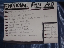 sign outside emotional first aid  tent