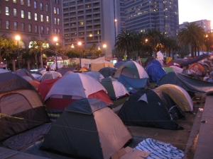 the  tent camp at dusk
